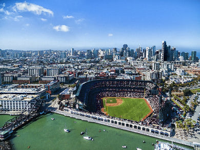 Poly Canvas Print - XXL - Photography - Drone Aerial View of Oracle Park, San Francisco, California