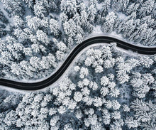 Load image into Gallery viewer, Poly Canvas Print - Photography - Landscape of Curvy Road Snaking Through Snowy Forest