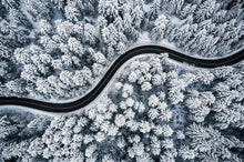 Load image into Gallery viewer, Poly Canvas Print - XXL - Photography - Landscape of Curvy Road Snaking Through Snowy Forest