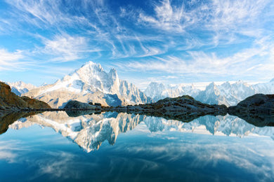 Poly Canvas Print - Photography - Water Landscape Lac Blanc in the French Alps