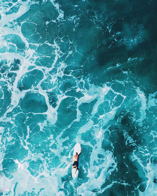 Poly Canvas Print - Photography - Water Landscape - Drone View of Ocean and Surfer