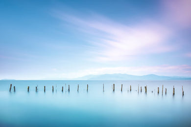 Poly Canvas Print - XXL - Photography - Water Landscape with Decaying Pier Beams