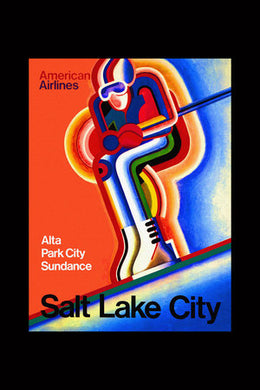 Poly Canvas Print - Float Frame - Vintage Travel Poster - American Airlines - Alta Park City Sundance - Salt Lake City
