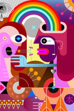 Load image into Gallery viewer, Poly Canvas Print - Abstract - Two People Share a Rainbow
