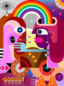 Poly Canvas Print - Abstract - Two People Share a Rainbow