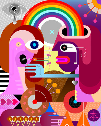 Poly Canvas Print - XXL - Abstract - Two People Share a Rainbow
