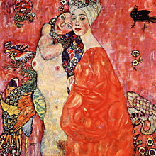 Load image into Gallery viewer, Poly Canvas Print - XXL - The Masters - Gustav Klimt - Girlfriends or Two Women Friends