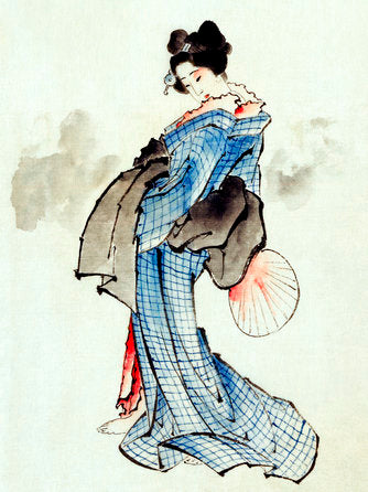 Poly Canvas Print - XXL - The Masters - Katsushika Hokusai - Woman, Full-Length Portrait, Standing