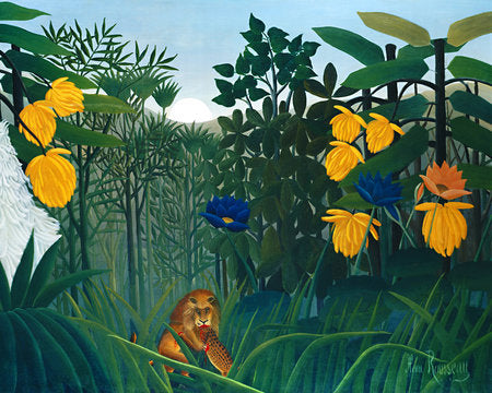 Poly Canvas Print - Float Frame - The Masters - Henri Rousseau - The Repast of the Lion