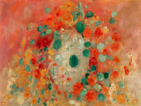 Poly Canvas Print - Float Frame - The Masters - Odilon Redon - Nasturtiums