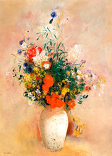 Load image into Gallery viewer, Poly Canvas Print - The Masters - Odilon Redon - Vase of Flowers (Pink Background)