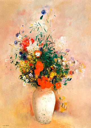Poly Canvas Print - XXL - The Masters - Odilon Redon - Vase of Flowers (Pink Background)