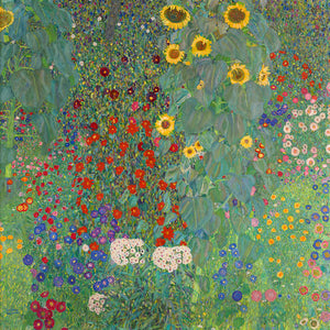 Poly Canvas Print - XXL - The Masters - Gustav Klimt - Farm Garden with Sunflowers