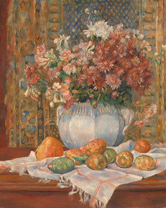 Poly Canvas Print - Float Frame - The Masters - Auguste Renoir - Still Life with Flowers and Prickly Pears