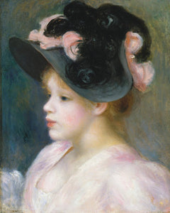 Poly Canvas Print - The Masters - Auguste Renoir - Young Girl in a Pink and Black Hat