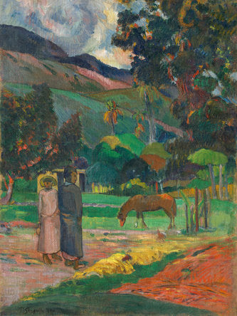 Poly Canvas Print - XXL - The Masters - Paul Gauguin - Tahitian Landscape