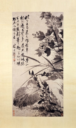 Poly Canvas Print - Float Frame - The Masters - Shitao (Zhu Ruoji) - Hibiscus, Lotus, and Rock