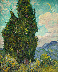 Poly Canvas Print - The Masters - Van Gogh - Cypresses