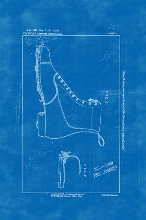 Poly Canvas Print - Patent Drawing - 1893 Football Boots