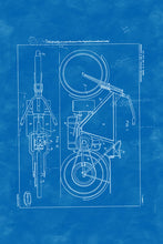 Load image into Gallery viewer, Poly Canvas Print - Float Frame - Patent Drawing - 1919 Steam Motorcycle