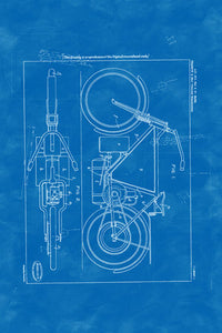 Poly Canvas Print - Float Frame - Patent Drawing - 1919 Steam Motorcycle