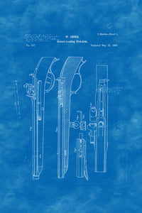 Poly Canvas Print - Patent Drawing - 1838 Revolver