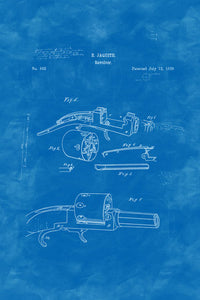 Poly Canvas Print - Float Frame - Patent Drawing - 1838 Revolver