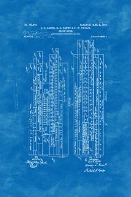 Poly Canvas Print - XXL - Patent Drawing - 1904 Slide Rule