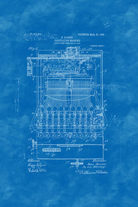 Poly Canvas Print - XXL - Patent Drawing - 1906 Calculating Machine