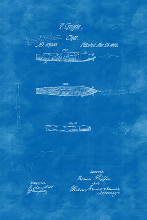 Poly Canvas Print - Patent Drawings - 1869 Cigar