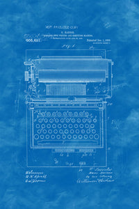 Poly Canvas Print - XXL - Patent Drawing - 1908 Typewriter Calculator Combo Machine