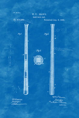 Poly Canvas Print - Float Frame - Patent Drawing - 1885 Spalding Baseball Bat