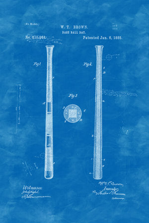 Poly Canvas Print - XXL - Patent Drawing - 1885 Spalding Baseball Bat