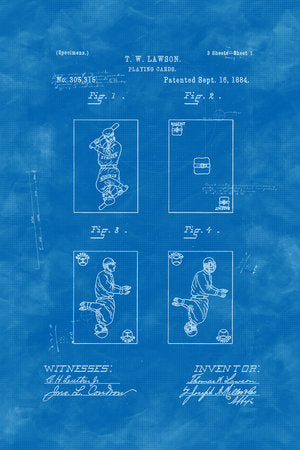 Poly Canvas Print - Float Frame - Patent Drawing - 1884 Baseball Playing Cards