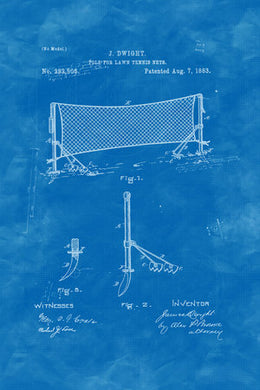 Poly Canvas Print - Patent Drawing - 1883 Tennis Net