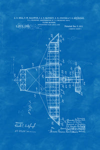 Poly Canvas Print - Float Frame - Patent Drawing - 1911 Flying Machine