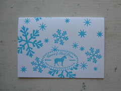 snowflake aqua folded notes