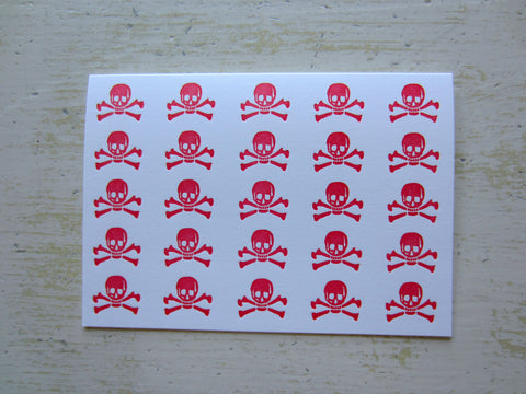 skull & crossbones red folded notes