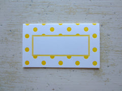 polka dot yellow place cards