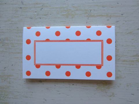 polka dot orange place cards