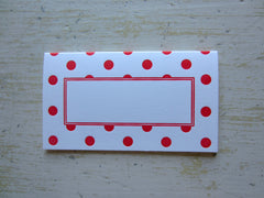 polka dot red place cards