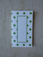 polka dot green place cards