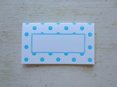 polka dot aqua place cards