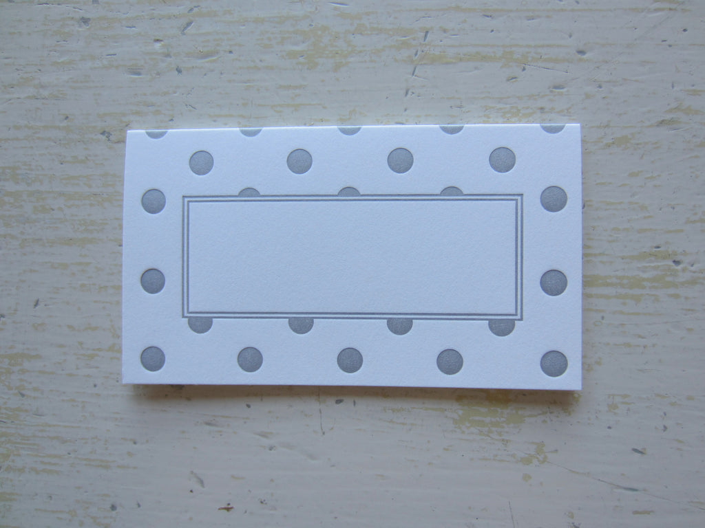 polka dot silver place cards