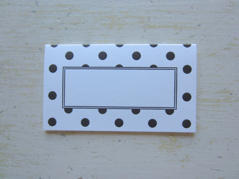 polka dot black place cards