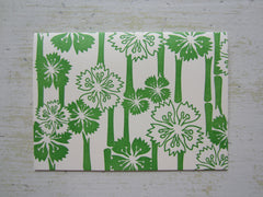 hawaiian green folded notes on ecru