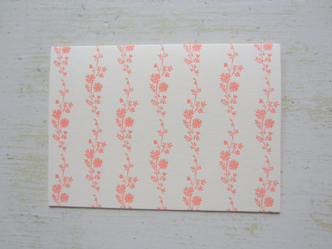 daisy peach folded notes on ecru