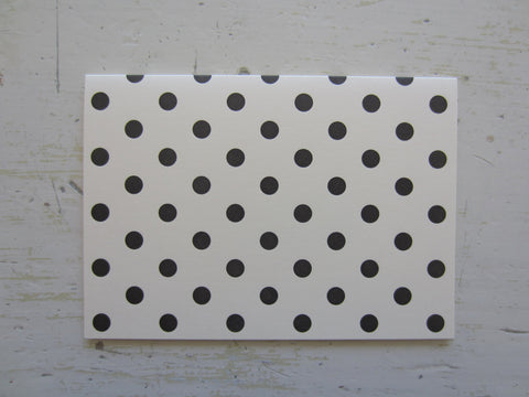 polka dot black folded notes on ecru