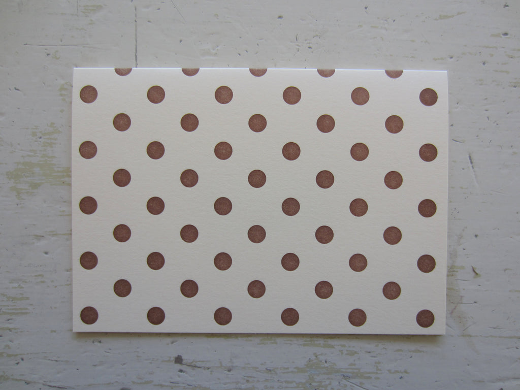 polka dot brown folded note on ecru