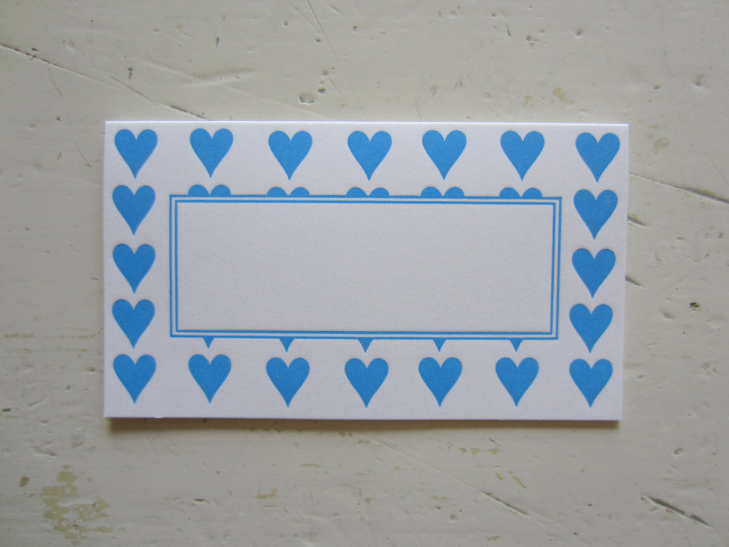 heart blue place cards